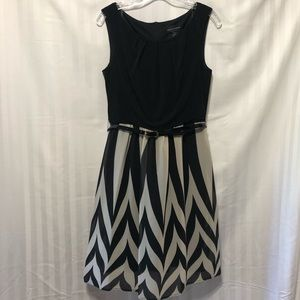 Black and Tan patterned flowing dress